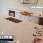 3CM Super White kitchen island sink