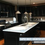 Super white countertops on black cabinets
