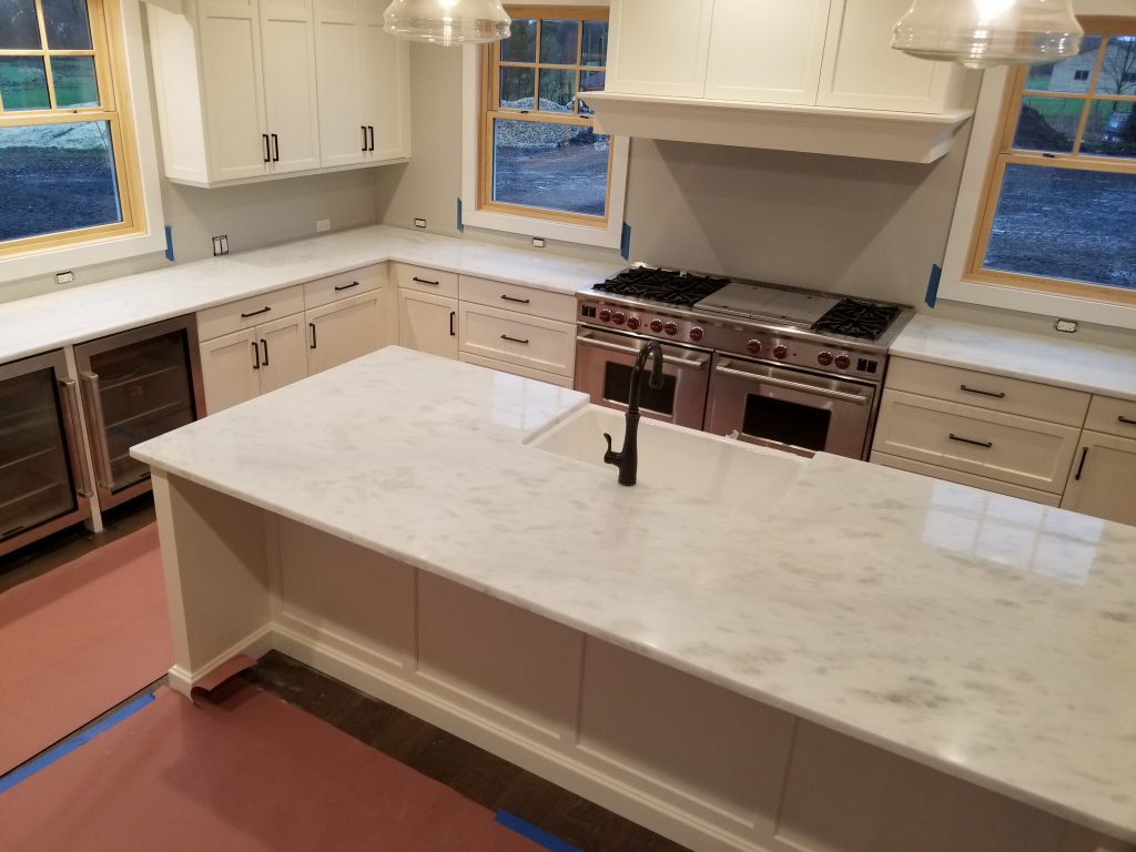 Super White Quartzite kitchen island